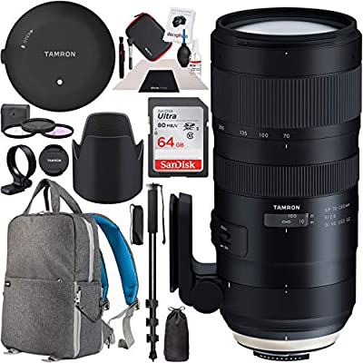 Tamron SP 70-200mm F/2.8 Di VC USD G2 Lens for Nikon F Mount AFA025N-700 TAP-in Console + 77mm Deluxe Filter Kit and Deco Gear Photography Backpack Pro Bundle by Tamron