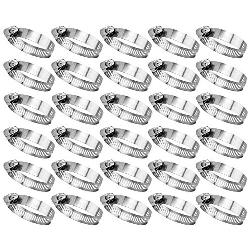 GmeDhc Abrazaderas Manguera, 30 Piezas Abrazadera Manguera de Acero Inoxidable 13-19mm Ajustable, Abrazaderas Metalicas para Tubos para Fijación Tubería