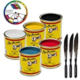 1-One-Shot 5 Color Lettering Enamel-Pinstripe Paint KIT with Custom Shop Striping Brush Set and Color Wheel