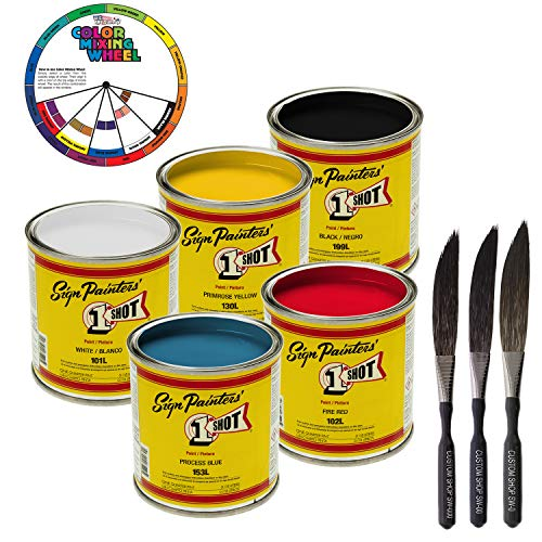 Price comparison product image 1-One-Shot 5 Color Lettering Enamel-Pinstripe Paint KIT with Custom Shop Striping Brush Set and Color Wheel