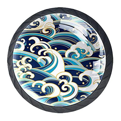 Pomos de cajón orientales de las olas del océano azul blanco redondo tirador de la manija del gabinete de cocina 4 paquetes para armario armario aparador puerta decoración del hogar