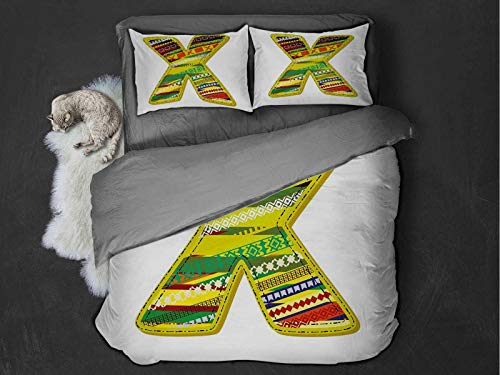 Toopeek Letter X Quilt cover 3-piece set Artistic Oriental Styled X Letter Caricature Forename Native American Lines Print Super soft and easy to maintain (Twin) Multicolor