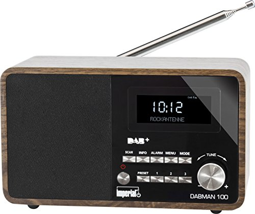 Imperial 22-220-00 DABMAN 100 Digitalradio (Holzgehäuse, LCD-Display, DAB+/UKW, RDS, 3,5mm Klinke) braun