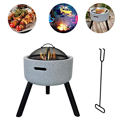 HLeoz Geo Fire Pit Bowl with Spark Guard & Poker, 58 * 45cm Fashionable and Artistic Magnesium Oxide Base for Outdoor Garden Barbecue Excursion (Fireproof Material)