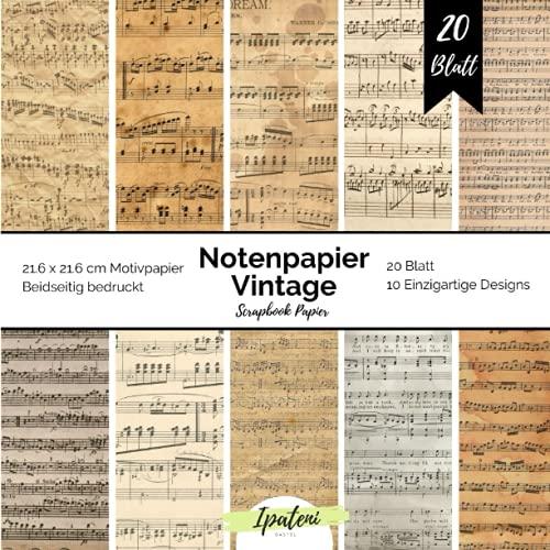 Scrapbook Papier Notenpapier Vintage: Motivpapier Beidseitig Bedruckt Vintage Notenblätter zum basteln 20 Blatt 21.6 x 21.6 cm Bastelpapier für vielfältige Bastelarbeiten