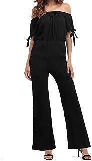 3e7f9b521dbb INIBUD Jumpsuits for Women Chiffon Floral Solid Color Off Shoulder Wide Leg  Short Sleeves Tie Romper
