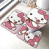 LUCKY Home Juego de 3 alfombrillas de baño de Hello Kitty, juego de alfombras de baño y toallas absorbentes para baño y alfombrilla