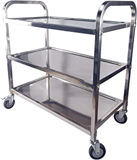 TAIMIKO Utility Cart, Stainless Steel 3-Shelf Kitchen Trolley for Restaurant Catering Kitchen Up to 300 lbs Capacity, Stainless Steel Carts Four Sizes for Your Choose (L33.5W17.7H35.4'')