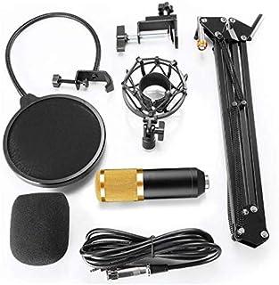 مجموعة ستوديو احترافية لتسجيل البث الإذاعي تحتوي على مكثف صوتي وميكروفون BM800