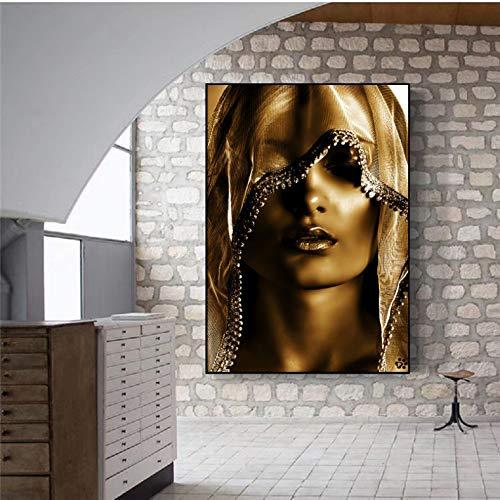 panggedeshoop Maquillaje Dorado Mujeres Pinturas En Lienzo Carteles E Impresiones Imágenes De Arte De Pared De Estilo Nórdico Cuadros Escandinavos para Decoración De Sala De Estar 40X50Cm (N: 0263)