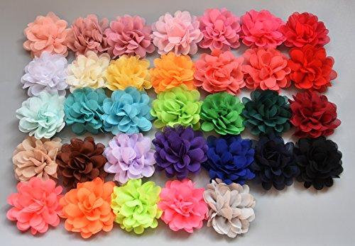 PrettyBoutique Girls Kids Women Chiffon Flower Hair Band Ponio Elastic Ponytail Bobble Accessories (7cm, Dark Green)