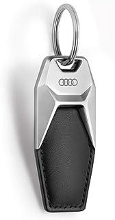 Audi 3181900600 sleutelhanger ringen logo metaal leer hanger sleutelring, zwart/zilver