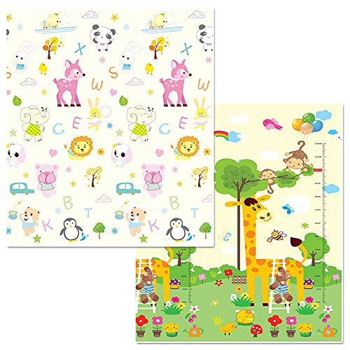 Fudeer Alfombrillas De Juego para El Suelo Impermeable Plegable Espuma Gatear Bebés Reversible Portátil Antideslizante Dibujos Animados Picnic Alfombrilla para Niños,1,1.8 * 2M*1.5cm
