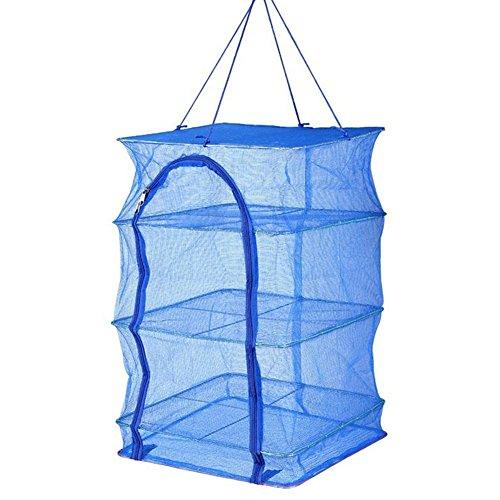 Cutogain Faltbare 4 Schichten zum Trocknen von Fischernetz, zum Aufhängen von Gemüse, Fisch, Trockner, PE Kleiderbügel, 40cm*40cm
