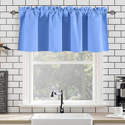 Blue Kitchen Valance 18 Inch Curtains for Boys Room Window Blue Valance 1 Panel