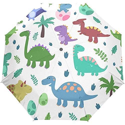 Netter Dinosaurier-Tier-tropischer Karikatur-offener Selbstregenschirm Sun-Regen-Regenschirm Anti-UV, der kompakten automatischen Regenschirm faltet