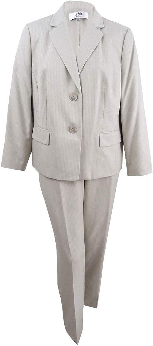 Le Suit Women's Size Plus Stripe Herringbone 2 Bttn Notch Lapel Pant Suit