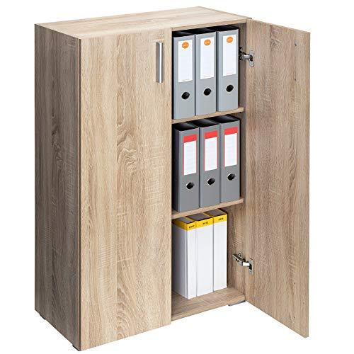 Deuba Standschrank Aktenschrank Mehrzweckschrank Schrank Holz »Vela« 3 Fächer mit 2 Türen Eiche【weitere Modell- & Farbauswahl】