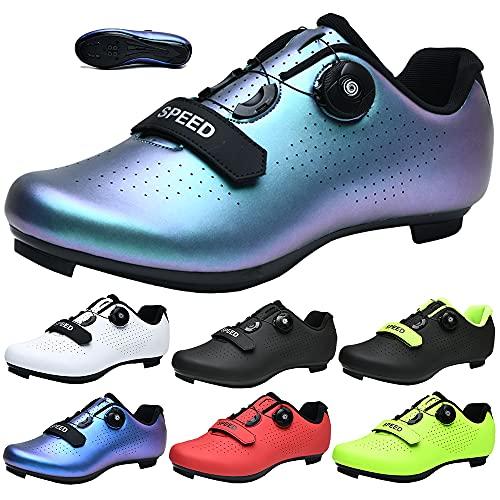 CHUIKUAJ Zapatillas de Ciclismo Hombre Mujer - Bicicleta de Carretera Zapatillas de Bicicleta Peloton Zapatillas de Montar SPD Compatibles para Interiores/Exteriores,Purple-45EU