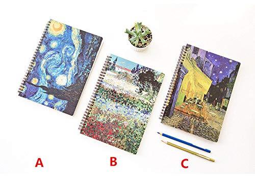 LJQLXJ taccuino B5 Quaderno a spirale Pianificatore di carta Proiettile Agenda Agenda Diario scolastico Taccuino Van Gogh Pittura, A