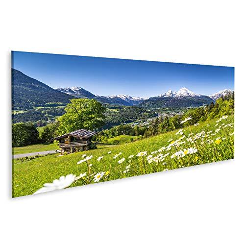 bilderfelix® Bild auf Leinwand schöne Berglandschaft in den bayerischen Alpen mit Dorf von Berchtesgaden und von Watzmann-Massiv Wandbild, Poster, Leinwandbild MYT