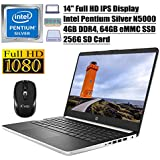 "2020 Newest HP 14 Flagship Laptop Computer 14"" FHD IPS Display Intel Pentium Silver Quad-Core N5000 4GB DDR4 64GB eMMC + 256G SD Card USB-C HDMI WiFi BT 5.0 Office 365 Win 10 + iCarp Wireless Mouse"