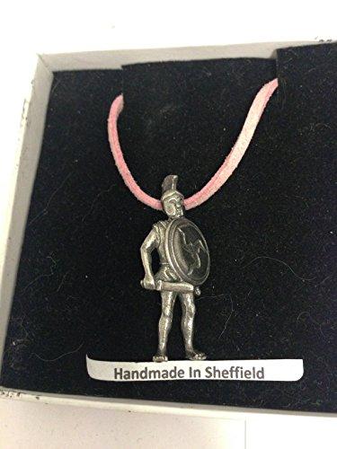 Collar de estaño inglés con cordón rosa, 41 cm, hecho a mano