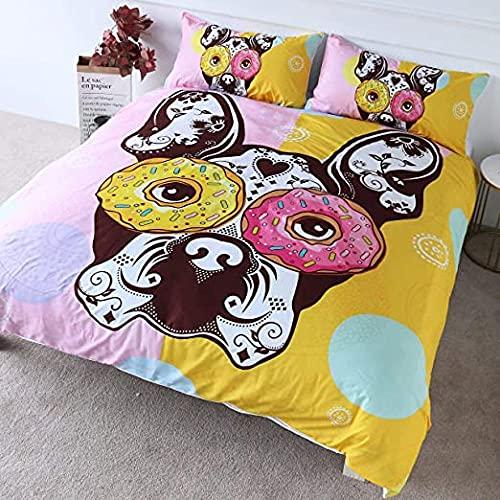 HSBZLH Fundas De Edredón Nórdico Bulldog Francés Donut Ropa Cama Divertida Funda Nórdica Rosa Y Amarilla 3 Piezas Colcha para Niños Cachorro Perro Donut