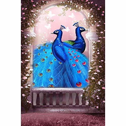 AJleil Puzzle 1000 Piezas Dos Cuadros de Pavo Real Azul Pintura Animal Puzzle 1000 Piezas Adultos Juego de Habilidad para Toda la Familia, Colorido Juego de ubicación.50x75cm(20x30inch)