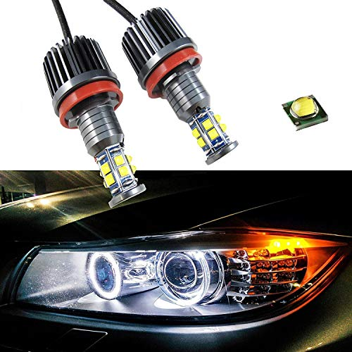 Xotic Tech 80W 7000K White H8 LED Angel Eyes Ring Marker Bulbs Compatible with BMW 1 3 5 X Series Z4 X5 X6