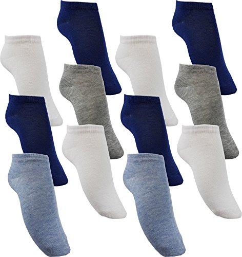 by Laake 12 Paar Jungen Sneaker Socken Kindersocken 95prozent Baumwolle Bunter Mix Uni Gr. 35-38 (JD111 35-38)