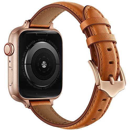 AISPORTS Correa de cuero compatible con Apple Watch Correa de 44 mm 42 mm para mujeres, suave y delgada, transpirable, correa de repuesto para Apple Watch SE/iWatch Series 6/5/4/3/2/1