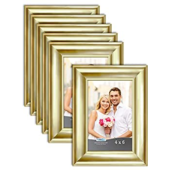 Icona Bay 4x6 Picture Frames  Gold 6 Pack  Contemporary Photo Frames 4 x 6 Wall Mount or Table Top Elegante Collection