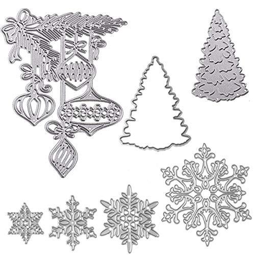 Christmas Dies for Card Making Snowflake Tree Merry Christmas Die Cuts Set Metal Cutting Dies Embossing Dies for Scrapbooking DIY Album Paper Cards Art Craft Xmas Decoration