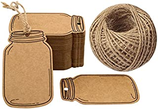 Mason Jar Shaped Tags,100PCS Mini Kraft Paper Gift Tags,Craft Card Tag,Gift Wrap Tags,Creative Blank Craft Paper Label DIY Hang Tags with 100 Feet Twine (7.5x4.5cm Brown)