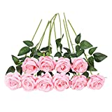 JUSTOYOU 10pcs Artificial Rose Silk Flower Blossom Bride Bouquet for Home Wedding Decor (Pink)