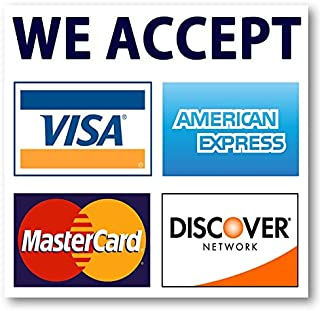 We Accept Credit Cards AmEx Visa MasterCard Discover Decals Sticker Logo Sign for Stores & Businesses (3.5