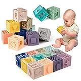 WolinTek 12PCS Impilabile cubi Bambini, Giocattoli Neonato 6 Mesi e più Giochi Neonati Cubi Impilabili Morbidi Blocchi Colorati da Masticare Dentizione Giochi da Bagno Giocattoli Educativi
