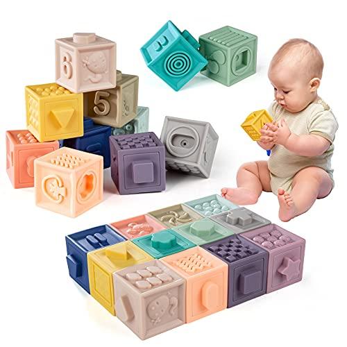 WolinTek 12Pcs Bloques Apilables para Bebés 0-12 Meses,Cubos Juguetes Bebe para Masticar la Dentición Juguetes Educativos para el Baño del Bebé Juegue con números, Formas, Animales,Letra