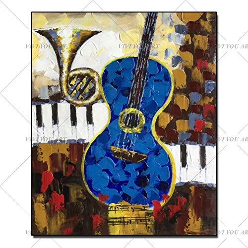 JXFFF 3D HD Printing Farbe Klavier Ölgemälde Moderne abstrakte Musikinstrument Leinwand Malerei Schlafzimmer Wandkunstwerk40x60cm Rahmenlos