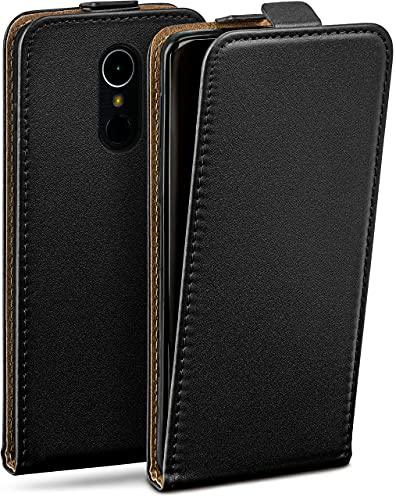 moex Flip Hülle für LG K8 (2017) - Hülle klappbar, 360 Grad Klapphülle aus Vegan Leder, Handytasche mit vertikaler Klappe, magnetisch - Schwarz