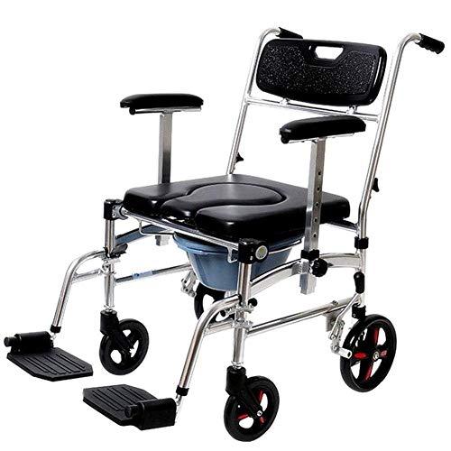 Wheelchair Silla de Inodoro, Silla de Inodoro con Ruedas móvil Plegable, Ducha de baño Liviana Silla de Inodoro con Asiento Acolchado para Personas Mayores con discapacidad