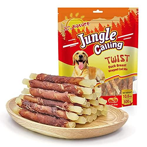 Jungle Calling Comida Perros, Golosinas para Perros Franja de Carne de Pato con Pescado Sticks Dentales Perro Alta Proteína Suplemento de Calcio 300g 🔥