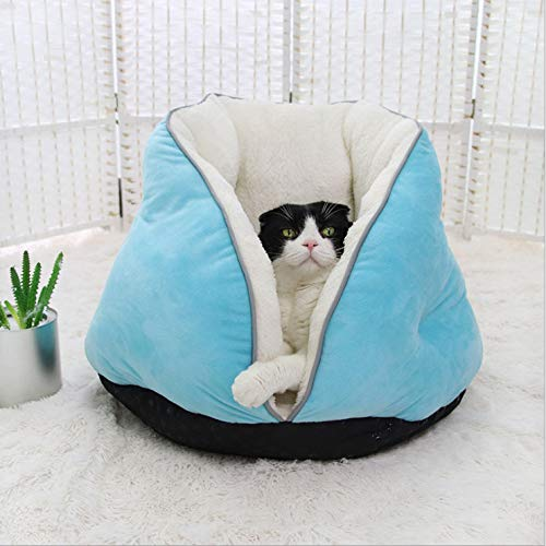 Gyy Pet Bed Cat Hut Tent Cave Elevated Bed Sleeping Bag Sofa Basket Cushion Waterproof Anti-Slip Soft Comfortable Warm and Deep Sleep 46 * 53 * 43cm