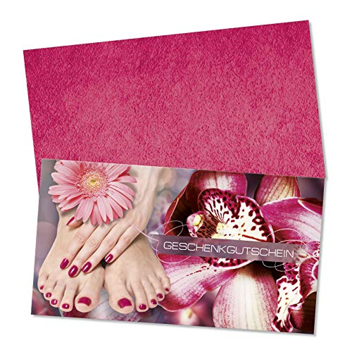 10 hochwertige Gutscheinkarten + 10 Kuverts. Gutscheine für Fußpflegesalon Fußpflege Fußpflegeinstitut Pediküre. Vorderseite hochglänzend. FU1801