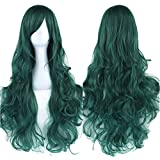 Fouriding 31.5'/80cm peluca larga cosplay anime mujer pelo largo rizado ondulado onda peluca sintética diaria fiesta