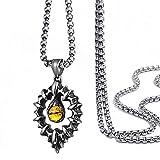 AMOZ Men'S Eye Pendant Necklace, Vintage Stainless Steel Inlaid Yellow Gem Gothic Tribal Biker Bracelet Keychain Kit Amulet Jewelry Gift Men Teen Boys 24 inch Chain Classic