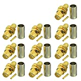 Eightwood SMA Jack Female Connector Bulkhead Straight Panel Crimp for RG58 LMR195 Cable Wireless WLAN 4G WiFi Antenna Extension Cable WiFi Camera 10pcs