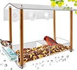 Bird Feeder, Strong Large Size with Suction Cups & Seed Tray, Separate Drinking-Water Sink & Wood Pillar Support, Weatherproof with Shield roof & Drain Hole, Outdoor Acrylic Bird House (12 inch) …