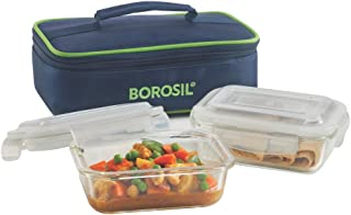 Borosil Glass Lunch Box Set of 2, 370  Safe Office Tiffin